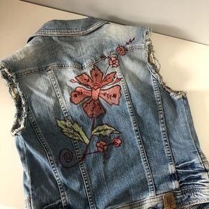 Guess denim vest with floral embroidery on back